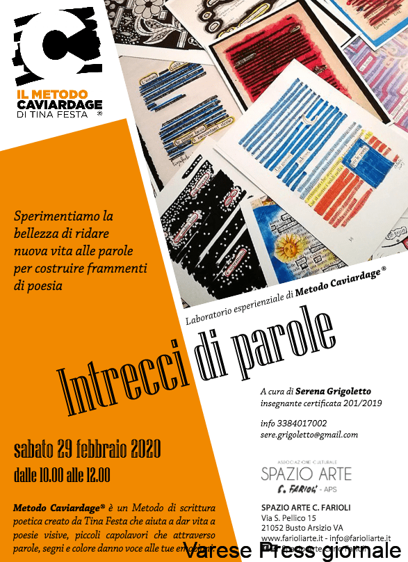 """Busto Arsizio, Spazio Arte Carlo Farioli,""""Intrecci di parole"""", poesie e pensieri"""